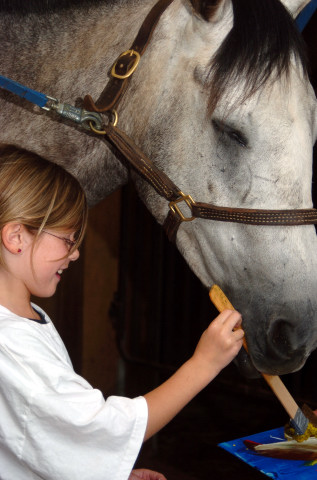 Horse-art is just one of the popular summer camp projects Hunter's Rest students learn.